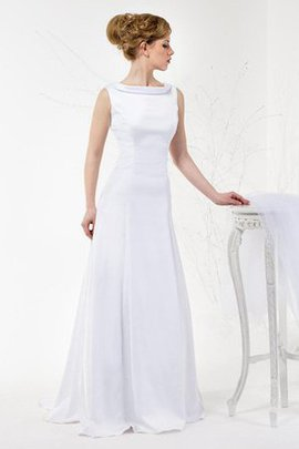 Robe de mariée plissage col en v foncé de col haut en satin longueur au ras du sol