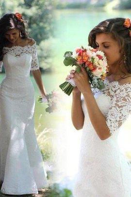 Robe de mariée naturel de sirène avec sans manches epaule nue avec décoration dentelle