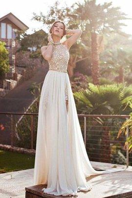 Robe de mariée naturel manche nulle avec chiffon a-ligne dénudé