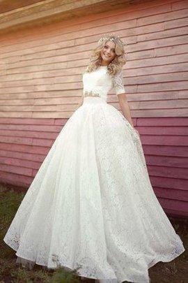 Robe de mariée vintage jusqu'au sol elevé a-ligne 2 pice