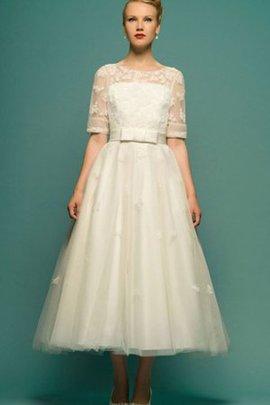 Robe de mariée modeste décontracté avec perle col en bateau col u profond