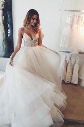 Robe de mariée naturel en tulle avec cristal de traîne moyenne manche nulle
