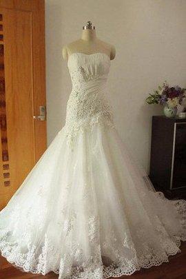 Robe de mariée longue avec décoration dentelle de sirène appliques trou de serrure