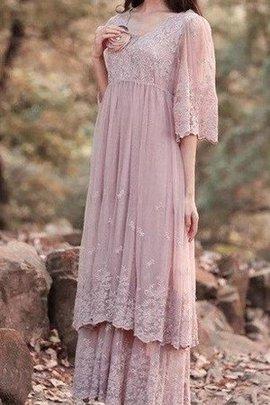Robe demoiselle d'honneur facile encolure ronde avec gradins en dentelle a-ligne