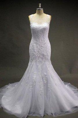 Robe de mariée avec perle avec décoration dentelle manche nulle encolure ronde en tulle