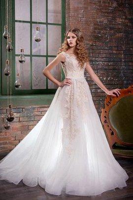 Robe de mariée naturel appliques en tulle col u profond de traîne mi-longue