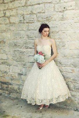 Robe de mariée delicat de col en cœur avec zip ligne a avec fronce