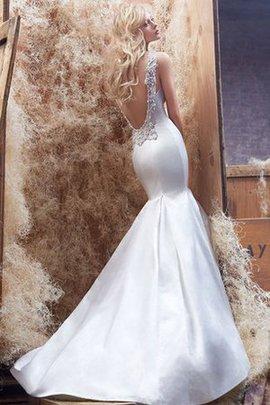 Robe de mariée en satin avec perle v encolure de sirène manche nulle