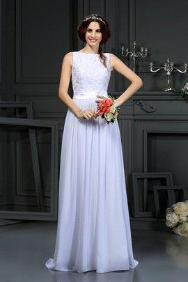 Robe de mariée avec chiffon de princesse ligne a encolure ronde avec sans manches