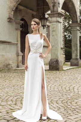 Robe de mariée nature avec sans manches avec cristal fendu latérale de traîne moyenne