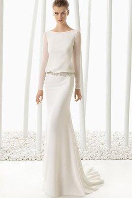 Robe de mariée humble avec perle en forme avec manche longue a plage