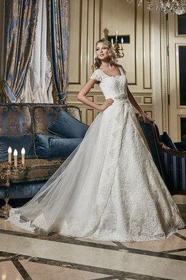 Robe de mariée longue naturel jusqu'au sol ligne a avec manche courte