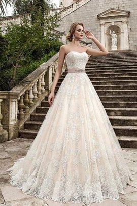 Robe de mariée longue naturel en dentelle de col en cœur avec perle