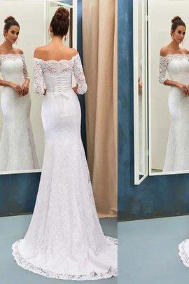 Robe de mariée naturel avec décoration dentelle de traîne courte de sirène epaule nue
