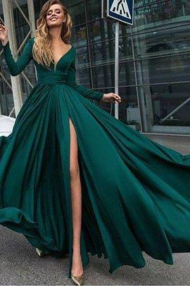 Robe de soirée fermeutre eclair de princesse de traîne courte de lotus de col en v