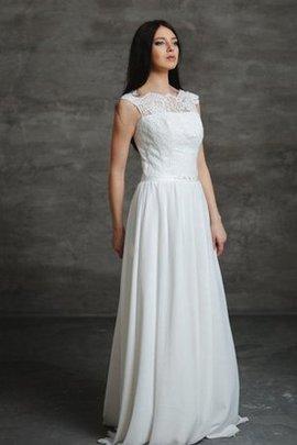 Robe de mariée naturel plissé avec perle col en bateau ligne a