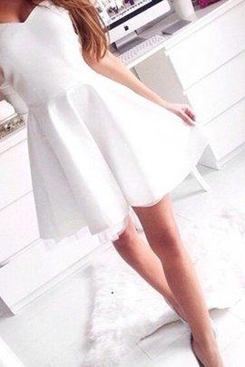 Robe de bal bref de princesse a-ligne avec sans manches en satin