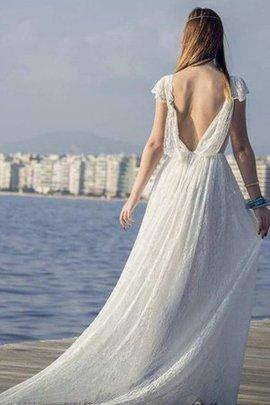 Robe de mariée a-ligne sans dos avec décoration dentelle decoration en fleur en plage