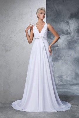 Robe de mariée naturel longue en chiffon de princesse ligne a