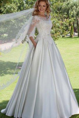 Robe de mariée en satin cordon ceinture en étoffe de mode de bal col u profond