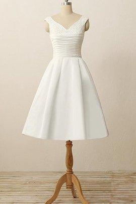 Robe de mariée bref plissage en satin avec manche courte longueur mollet