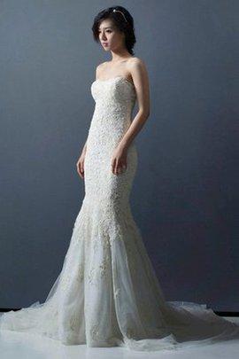 Robe de mariée distinguee de col en cœur de traîne moyenne de bustier avec perle