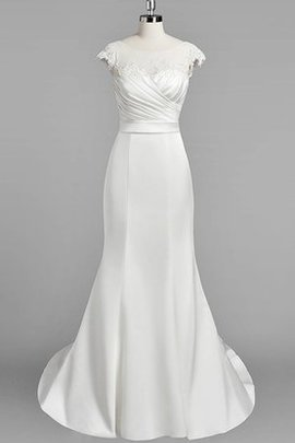 Robe de mariée distinguee naturel fermeutre eclair en satin avec manche courte
