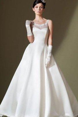 Robe de mariée longue ligne a decoration en fleur en satin manche nulle