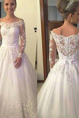 Robe de mariée naturel de mode de bal de traîne moyenne avec manche longue en tulle