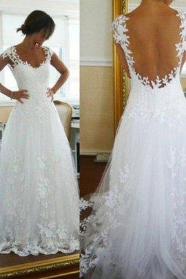 Robe de mariée naturel avec sans manches sans dos avec décoration dentelle v encolure