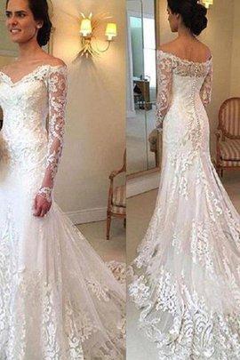 Robe de mariée brillant de sirène avec manche longue d'epaule ecrite naturel