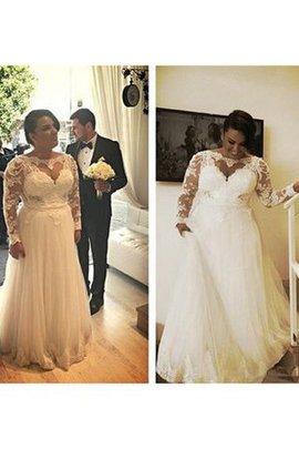 Robe de mariée plissé longue avec manche longue en dentelle lache