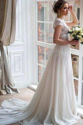 Robe de mariée facile attirent 2 pice avec décoration dentelle de traîne mi-longue