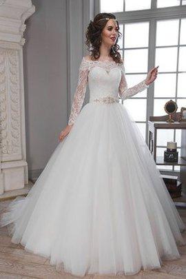 Robe de mariée modeste textile en tulle d'epaule ecrite en dentelle avec manche longue