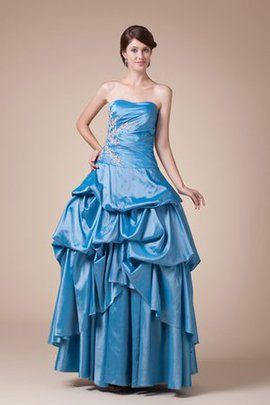 Robe de quinceanera plissage de mode de bal decoration en fleur ample manche nulle