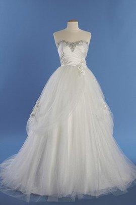 Robe de mariée longue en salle col en forme de cœur en tout plein air cordon