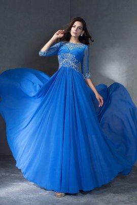 Robe de soirée a-ligne de princesse avec zip manche nulle de traîne courte