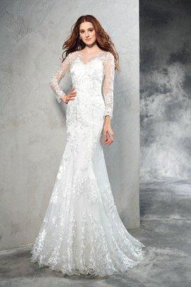 Robe de mariée longue naturel de traîne courte maillot avec manche longue