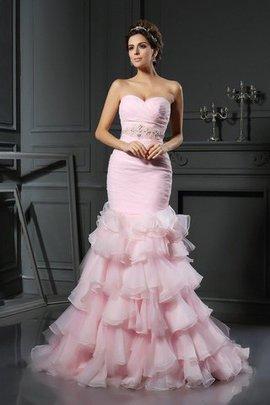 Robe de mariée longue naturel cordon en organza manche nulle