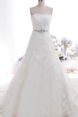 Robe de mariée luxueux plissage avec ruban de traîne moyenne avec perle