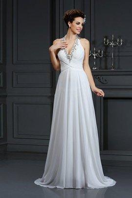 Robe de mariée longue avec sans manches en chiffon de princesse de traîne moyenne