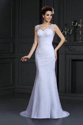 Robe de mariée naturel longue avec décoration dentelle v encolure manche nulle