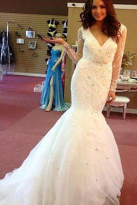 Robe de mariée naturel en tulle de traîne moyenne avec manche longue v encolure