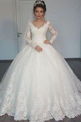 Robe de mariée naturel en tulle de mode de bal avec manche longue v encolure