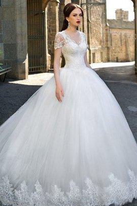 Robe de mariée longue intemporel avec bouton en tulle de mode de bal