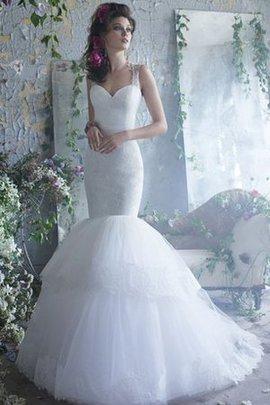 Robe de mariée naturel de sirène noeud textile en tulle avec gradins