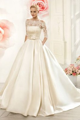 Robe de mariée plissage de traîne moyenne de mode de bal avec manche 3/4 en 1/2 manche