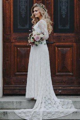 Robe de mariée sobre avec chiffon col u profond avec manche 1/2 maillot