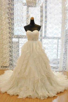 Robe de mariée naturel de traîne moyenne en organza avec perle cordon