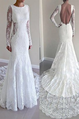 Robe de mariée naturel de traîne moyenne de sirène avec manche longue col u profond